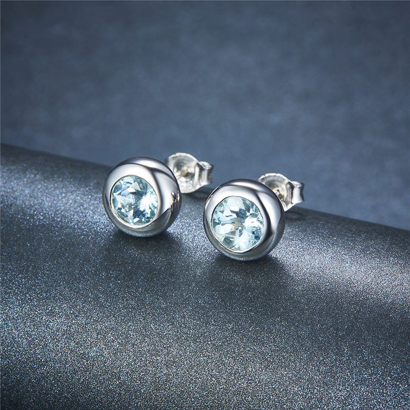 bezel set white stud earrings stone in p gold three diamond angle jewelry ctw