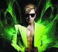 Estilo estrela ds masculinos neon verde sem mangas de manga masculino palco vestido de traje de alta qualidade frete grátis