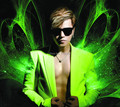 Star style male ds neon yellow green sleeveless Sleeve suit set male stage show dance costume high quality dress free shipping