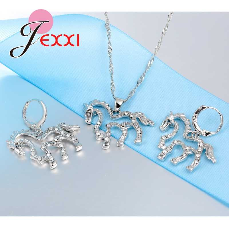 Хит продаж, Модный Блестящий комплект ювелирных изделий из циркония с лошадью, брендовый 925 пробы, Серебряное Элегантное ожерелье, Комплект сережек для женщин
