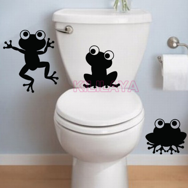 Funny Frogs Toilet Wc Stickers Cartoon Vinyl Wall Sticker Wall Decals Art Wallpaper Home Decor House