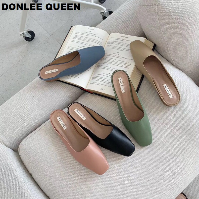 2019 New Summer Slippers Shoes Women Low Heel Mules Simple Solid Outdoor Slides Slip On Casual Shoes Comfortable Sandalias Mujer