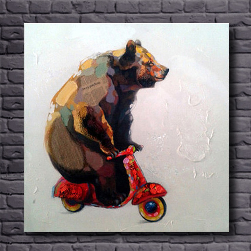 Hand painted Canvas Oil Paintings Lovely Bear Riding