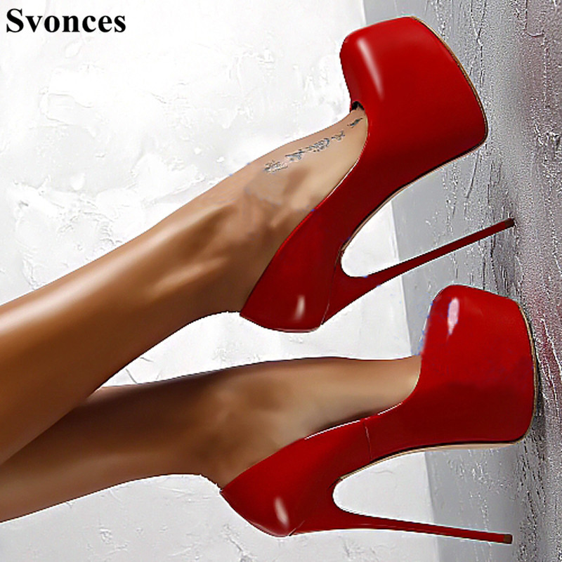 Haute Extreme Picture as En Sexy Lady Club Picture As Chaussure Fétiche Cm Plate Femmes Verni forme 16 Femme Party Rouge Talons Cuir Pompes Talon Mince qSxHptS