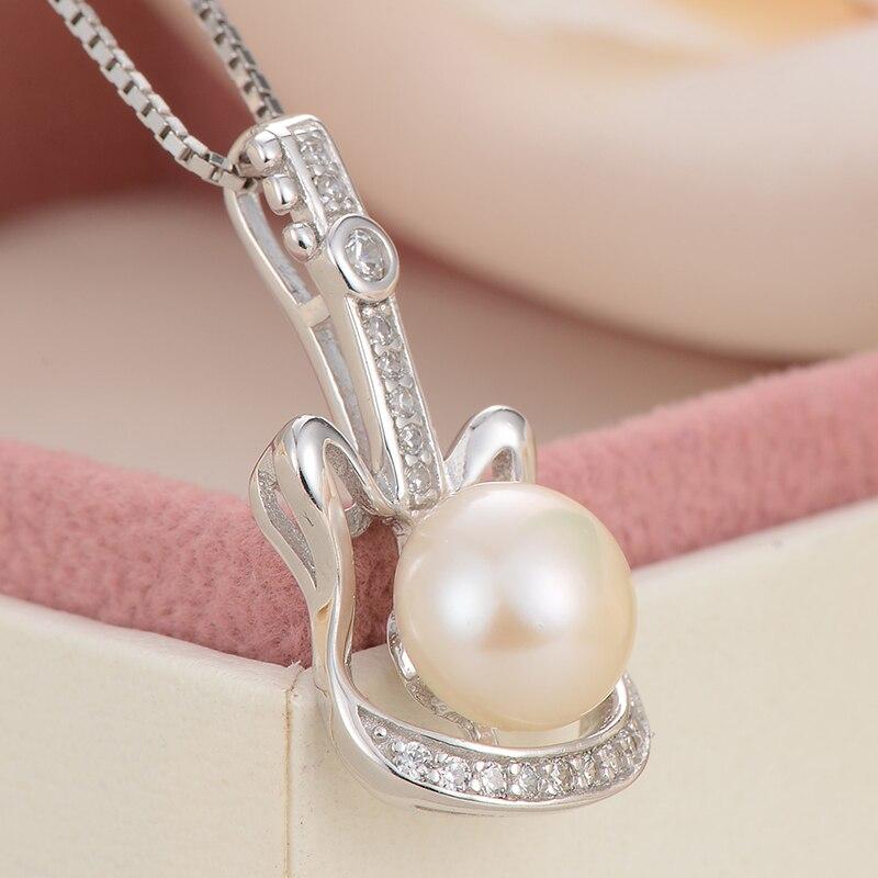 GNpearl naturel blanc perle d'eau douce collier 925 argent à la mode pendentif colliers cadeau guitare