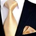 Atacado Sólidos Verificado Luz Ouro Amarelo Conjunto Gravatas Laços dos homens Bolso Praça 100% de Seda Tecido Jacquard Frete Grátis