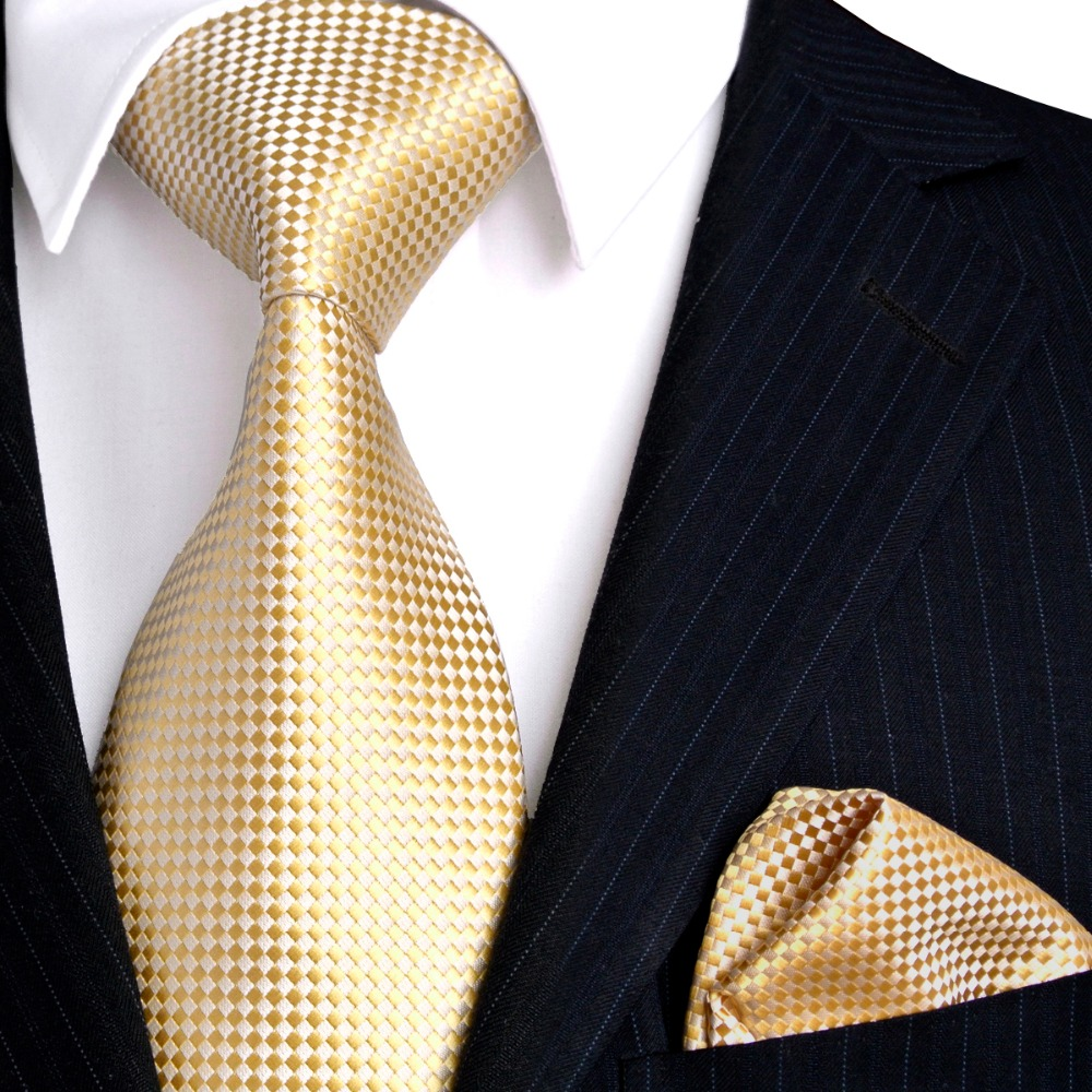 Wholesale Solid Checked Light Yellow Gold Men S Ties Set