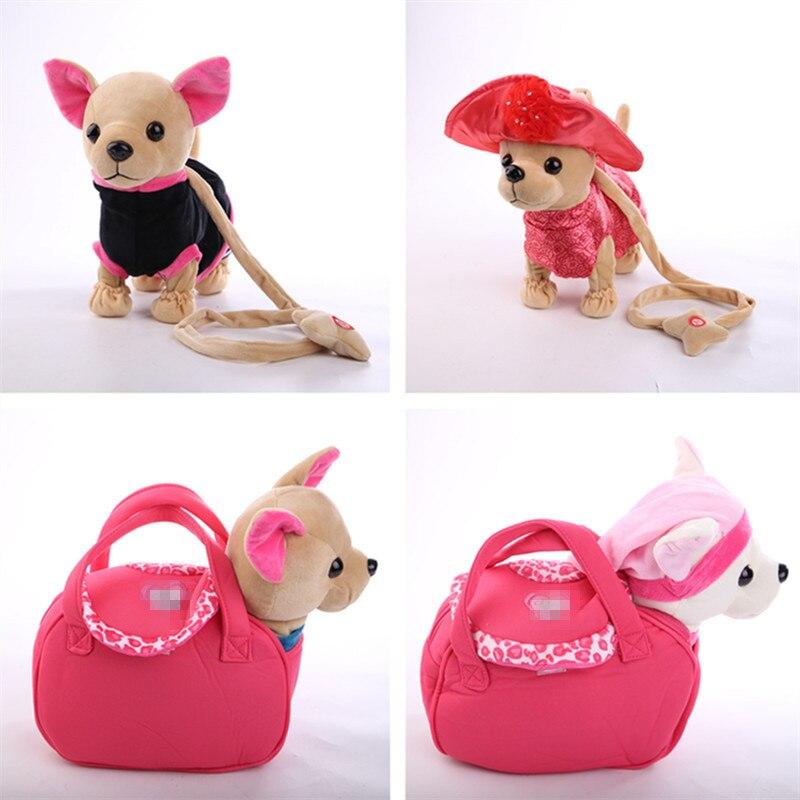 1 piezas Der Chi de amor electrónica perro canto caminar Musical de peluche de perro Robot juguetes para los niños del bebé
