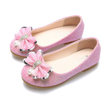 Princess Glitter Flats Girls Pink Bow Shoes Children's Flats Jewelry Dance Shoes for Girls Round Toe Big Girls Party Shoe Silver цена 2017