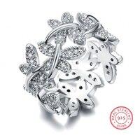 Размеры 5–10 choucong 10 0% чистый 925 стерлингового серебра Роскошные ювелирные изделия бабочка цветок кольцо 5 CZ Для женщин обручальное палец коль