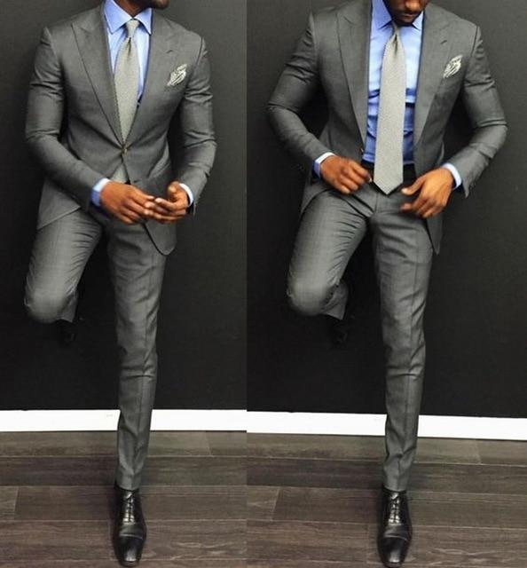 (Куртка + Брюки) Свадебные Серый Жених Костюм Последние Пальто Пант Дизайн Смокинги Для Мужчин Homecoming Костюмы Terno Masculino