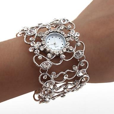 Women's Diamond Style Bracelet Wrist Watch,Fashionable Design Analog Quartz Watches,women Silver Alloy Watches (Silver)