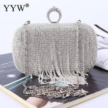 High Quality Rhinestone Tassels  Wedding Evening Bags Clutch Bag Vintage Jewelry Ring Sliver Fashion Party Clutches Female