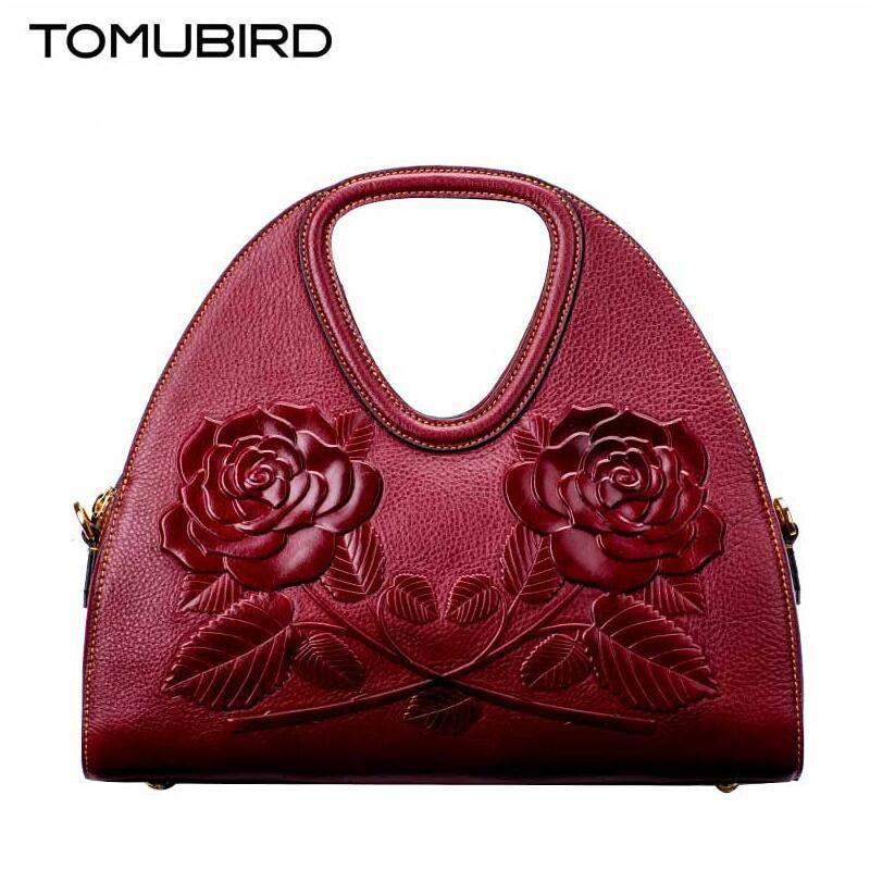 free delivery  Genuine Leather women bag  Chinese style retro flower hand bag Ethnic wind handbag Original embossed saddle bag