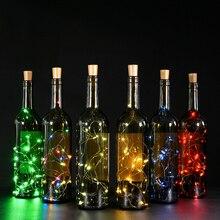 15X включает в себя батарею 2 м серебряная проволока гирлянда пробка для бутылки светодиодный гирлянды свадьба Рождество год праздник украшения