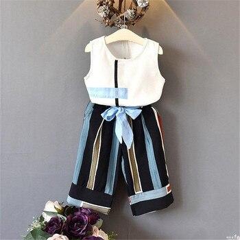 Trajes de verano para niña sin mangas chaleco blanco Tops + Pantalones de vendaje de pierna ancha a rayas para niños