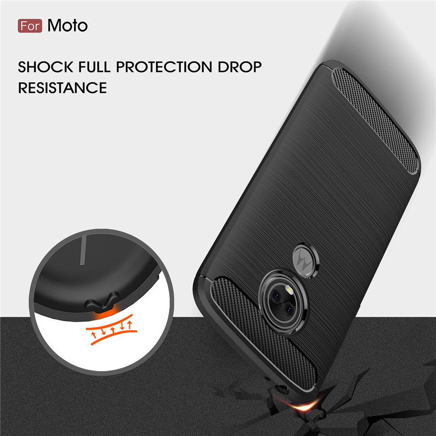 Shockproof Phone Case For Motorola E5 Play Cases Power Cover MOTO E3 E5 E4 C Plus G5s Carbon Fiber TPU Silicone Phone Back Case 360 degrees