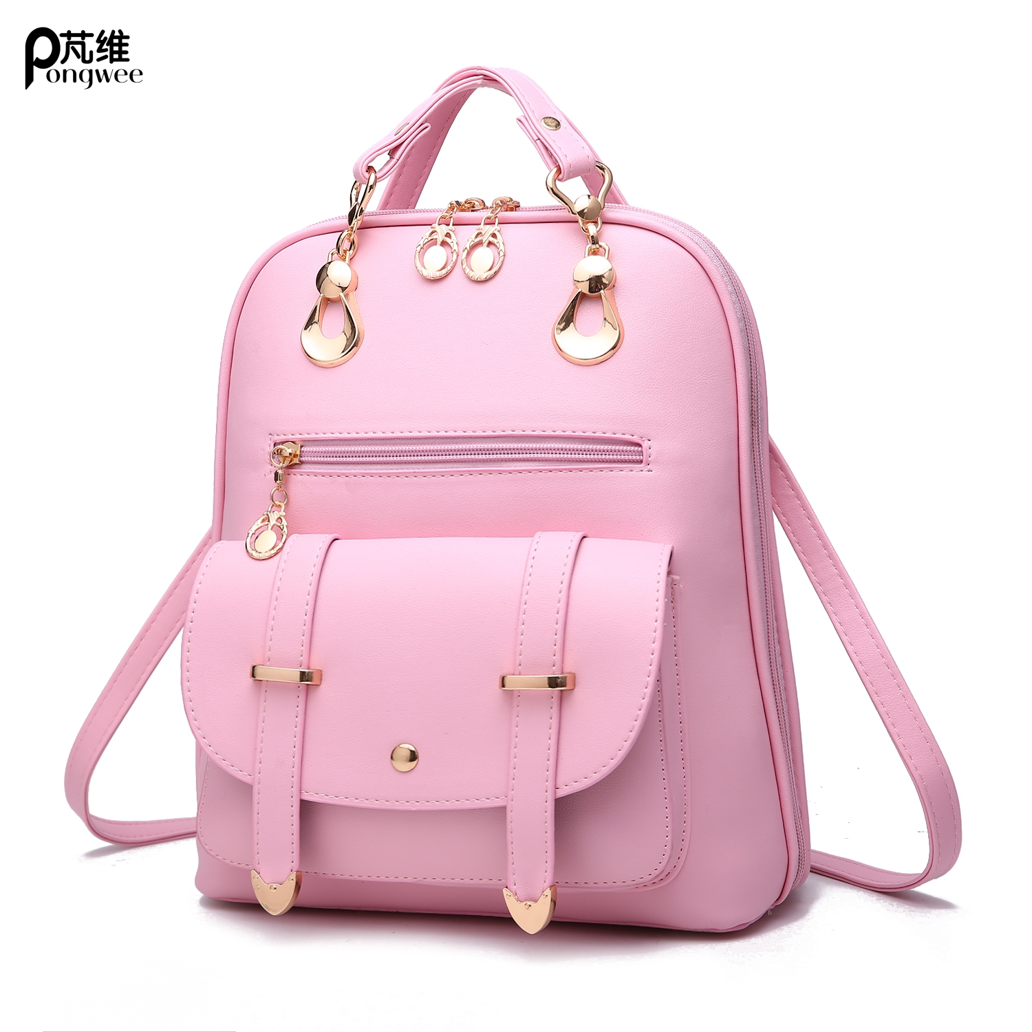 PONGWE 2017 New Female Package Korean Version Of The Middle School Students Bag Simple Leisure Backpack Female Tide Shoulder Bag qiaobao 2018 new korean version of the first layer of women s leather packet messenger bag female shoulder diagonal cross bag