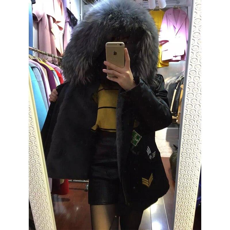 leather sleeve grey fur inside with black parka big raccoon fur collar beading winter women jacket