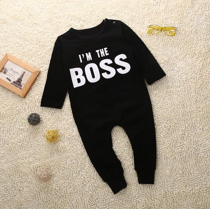 2017 Black Cool Newborn Infant Baby Boy Romper Long Sleeve Jumpsuit Clothes Outfit