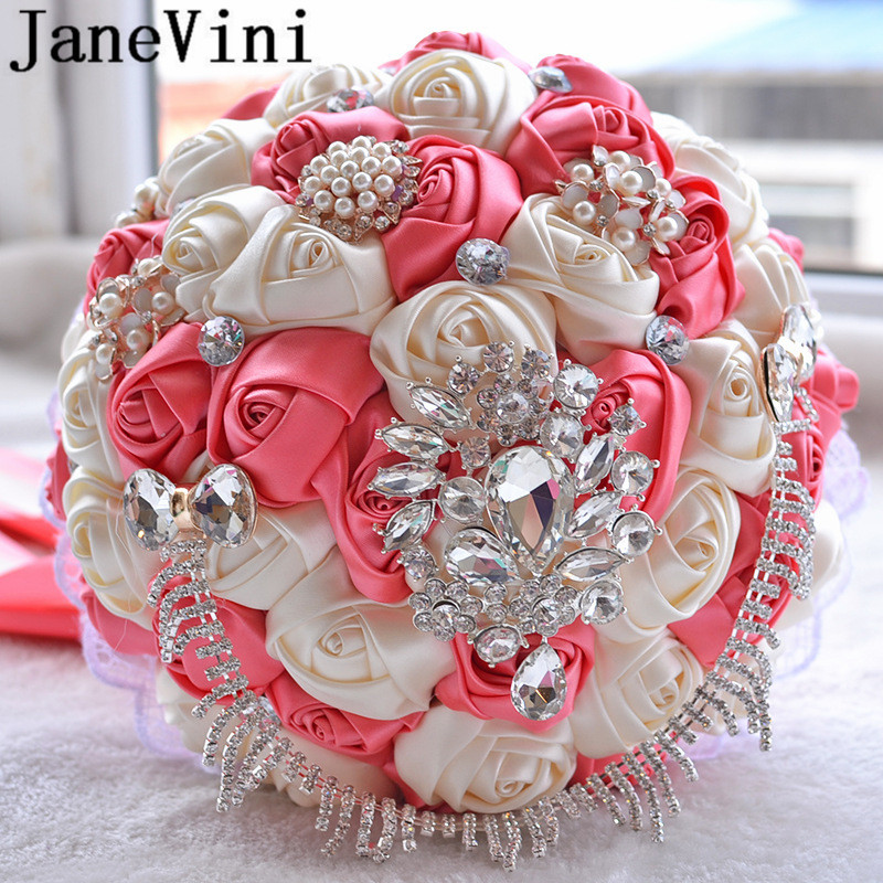JaneVini 2019 Luxury Crystal Wedding Bouquets Purple Watermelon Color Satin Roses Beaded Jewelry Bride Flower Bridal Bouquet