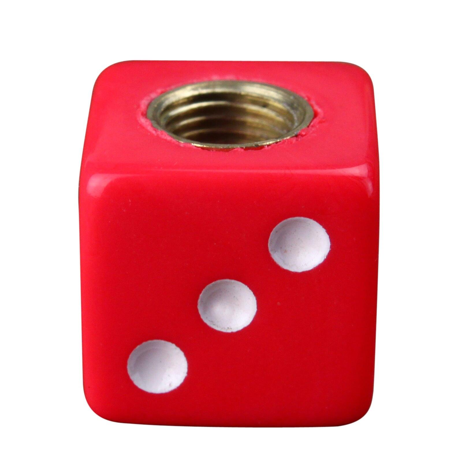 4 х Красный Игральная кость шин Air Клапан стволовых Caps тележки автомобиля велосипед ATV колесо Диски