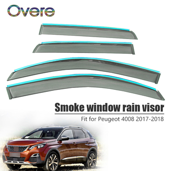 Overe 4Pcs/1Set Smoke Window Rain Visor For Peugeot 4008 2017 2018 Styling ABS Awnings Shelters Guard Car Accessories