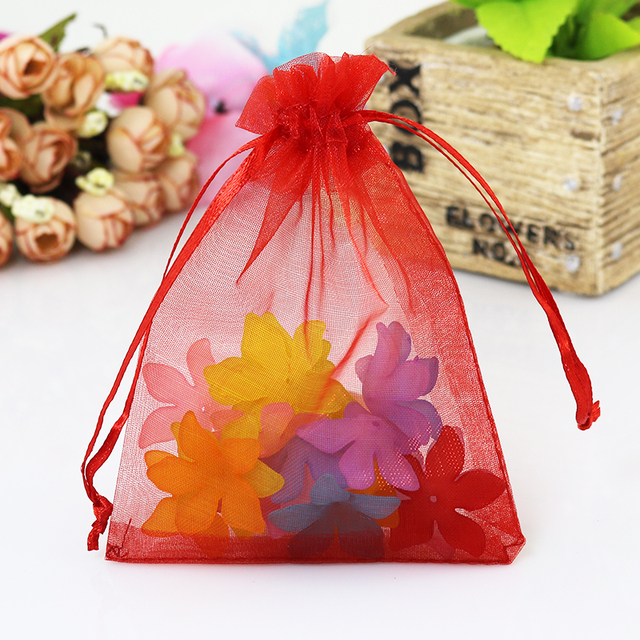 Hot 100pcs Lot Small Organza Bags 9x12cm Red Wedding Favors Candy Jewelry Packaging