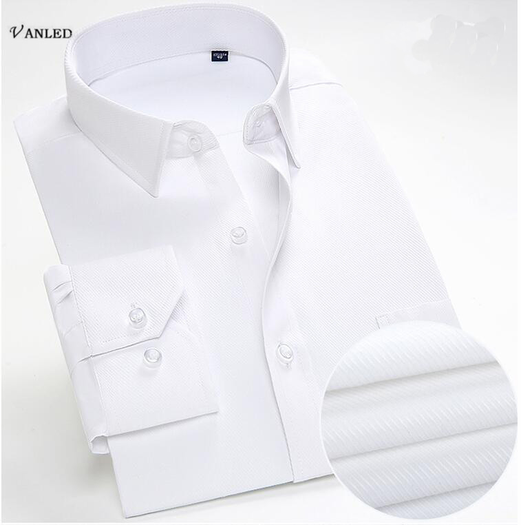 VANLED High Quality 2017 Autumn Woemn Solid Shirt Camisa Social Masculina Profession Mens Bodycon Long Sleeve Cotton Shirts Z173
