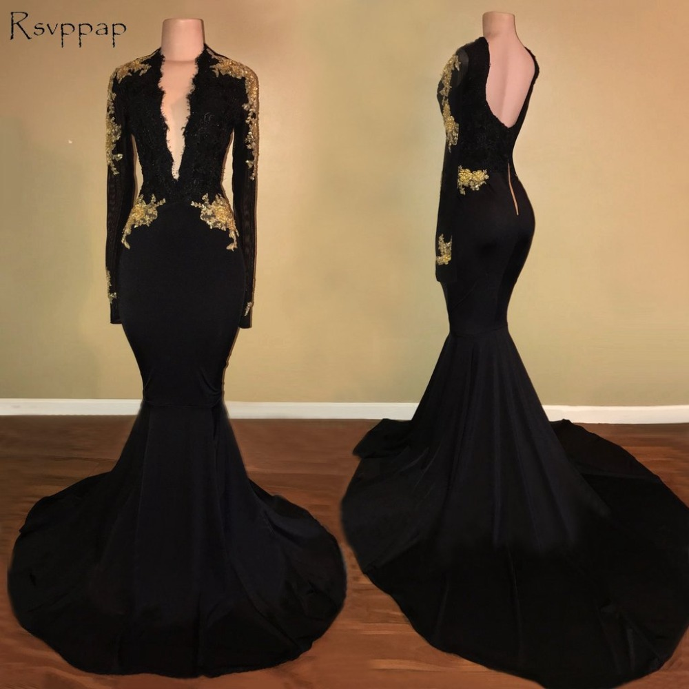 Long Sexy   Prom     Dresses   2018 Mermaid V-neck Long Sleeve Applique Backless African Black   Prom     Dress