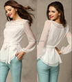 2014 Women's clothing white chiffon shirt tops long-sleeve bow tie shirt slim chiffon basic shirt