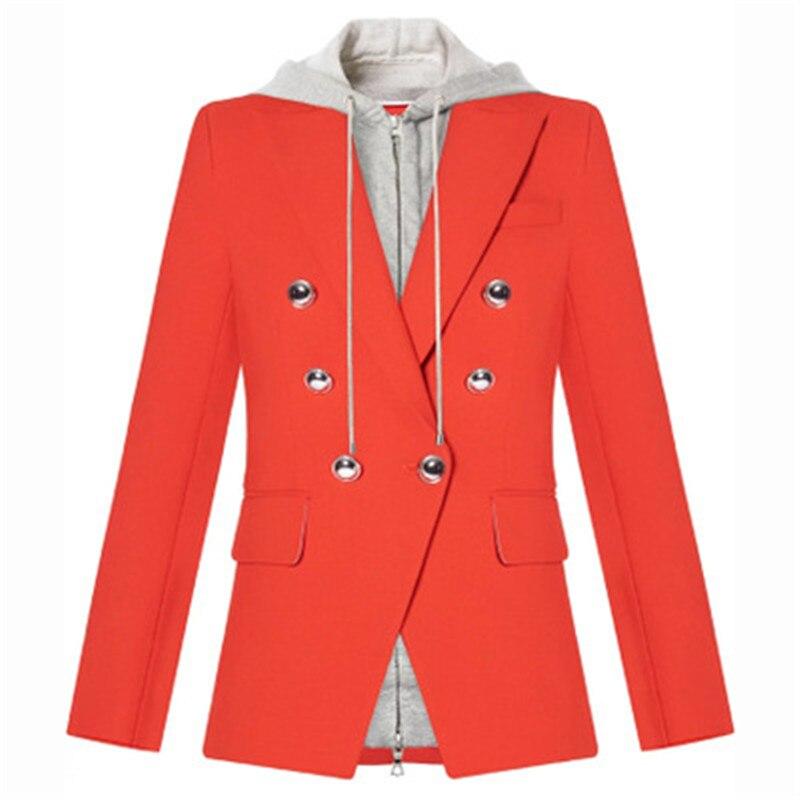 Blazer Hohe QualitÄt Neueste Mode 2019 Designer Blazer Frauen Abnehmbare Kapuze Zweireiher Casual Blazer Jacke Modernes Design