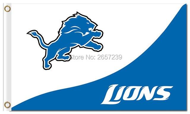 detroit lions logo lions flag 3x5ft nfl banner150x90cm 100d polyester brass grommets custom flag free