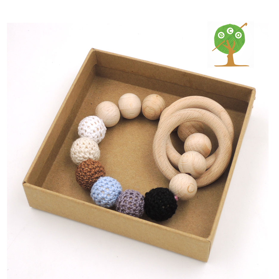 Organic nursing toy  Black grey cream wooden teething toy good quality beech ring baby teether shower gift rattle toddler ET20