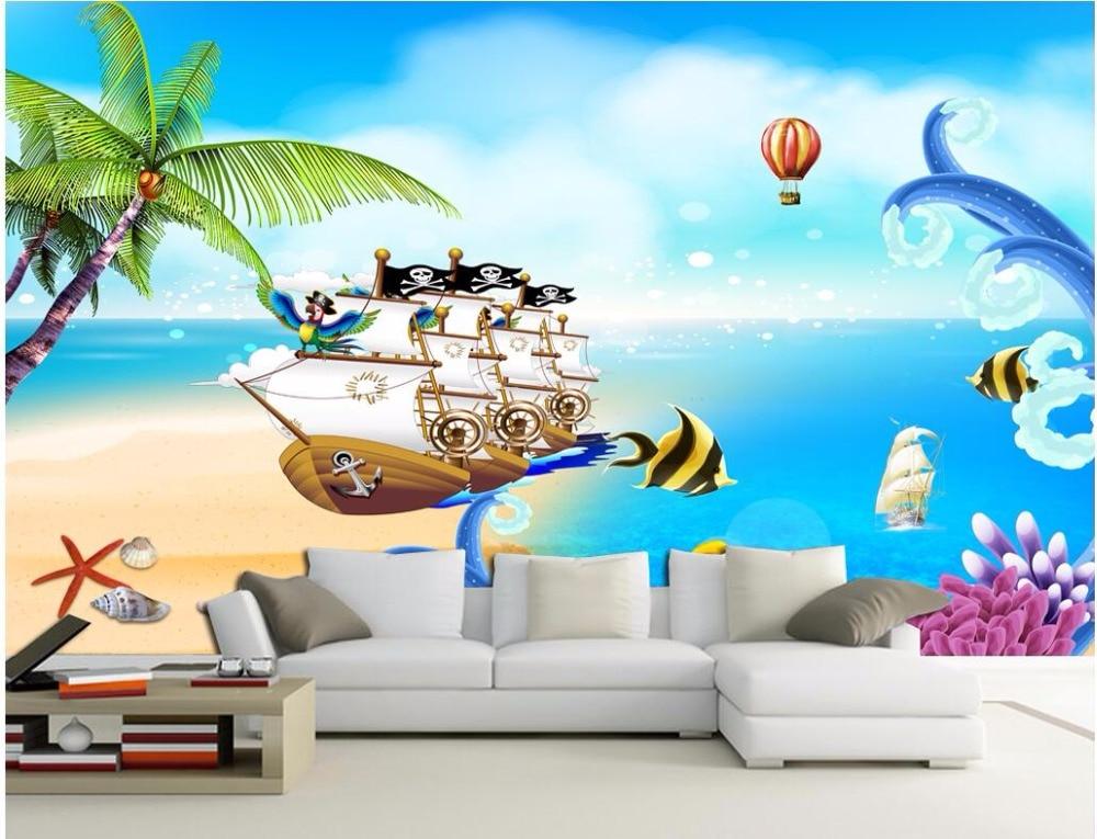 Custom 3 D Photo Wallpaper Wall Murals 3d Wallpaper Beach: 3d Room Wallpaer Custom Mural Cartoon Beach Pirate Ship