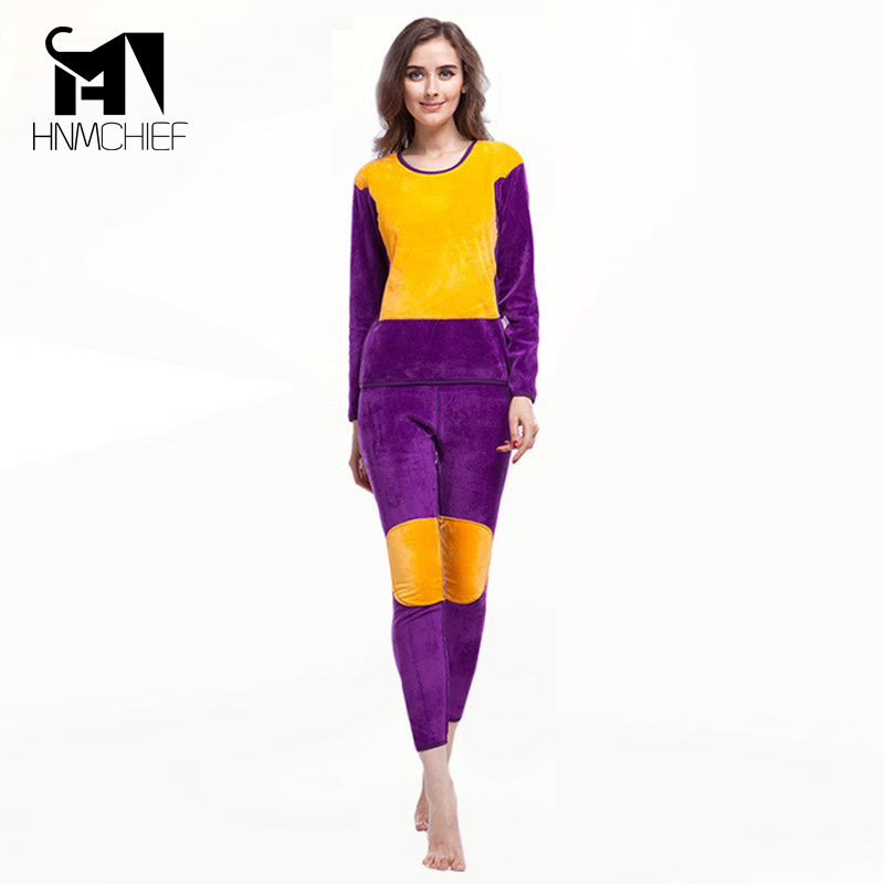 Thermal Underwear Women Winter Plus Thick Velvet Long Johns Lovers Women's Pant And Top Suit Warm Clothing Purple Red Black