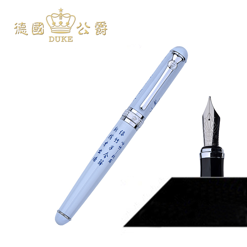 Duke D2 Iraurita Nib Luxury Fountain Pen High Quality Blue and White,red,black Writing Pens Business Gift Pen Office Stationary duke luxury writing business stationery black and gold 0 5mm fountain pen with blue gem on the top metal ink pens free shipping