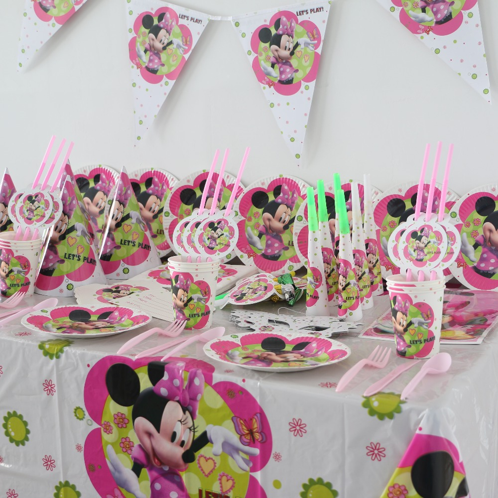 104pcs disposable paper cups plates minnie mouse kids for Baby minnie decoration