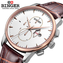 New Binger men full steel watch fashion quartz Leather sports watches top mens luxury brand designer wristwatch male relogio