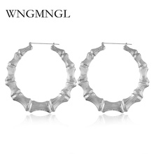 WNGMNGL Large Bamboo Joint Hoop Earrings Hip-Hop Gold Silver Color Ladies Big Circle Street Dance Club