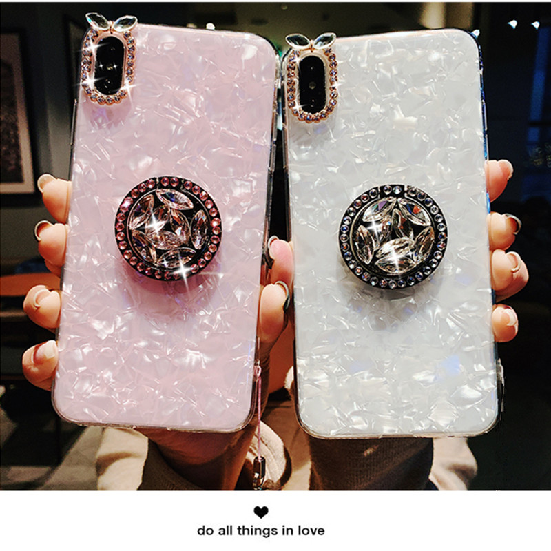 Case For Huawei enjoy 9 Plus enjoy 8 Plus 7X 7Plus Nova 2Plus Mate S Bling Rhinestone Conch Shell Ring Holder Cover Couqe in Fitted Cases from Cellphones Telecommunications
