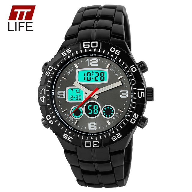TTLIFE New Mens Watches Top Brand Luxury Male Military Large Dial Wrist Watches Fashion Sports Watch Dual Time Display Clock