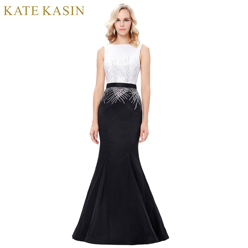 Kate Kasin Long Sequins Mermaid Evening Dresses Party Elegant Vestido De Festa Prom Dresses 2018 Robe de Soiree Black White Gown