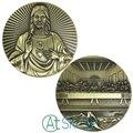 100pcs/lot 80*10MM Souvenir Coin Jesus Christ the Last Supper Calendar Big Medal Commemorative Art Collection Coins Collectibles