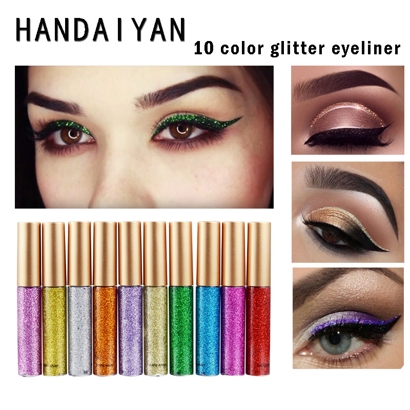 Handaiyan Glitter Eyeliner Set Liquid Eyes Liner With Cat Eye Seal Eyeliner Stamp Waterproof Makeup Maquiagem Shiny Cosmetics Beauty Essentials