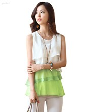 Fashion 2017 Women Clothing Plus Size Shirts Spring Summer Chiffon Flounce Blouse Sleeveless Top Shirt Yellow Green 34