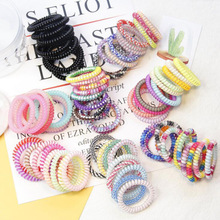 Wholesale 10pcs/lot Candy Colors Elastic Telephone Wire Hair Bands Cute Colors Stretch Plastic Rubber Bands Hair Ties Scrunchies