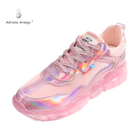 Adriana Hot Style Crystal Base Shoes for Women Spring 2019 New Mesh Sequins Fashion Bear Bottom Four Seasons Sports Casual Shoes