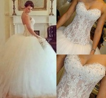 Amazing Design Ball Gown Puffy See Through Beaded Sweetheart Sweep Train Fluffy Tulle Wedding Dresses With Beadings MF634
