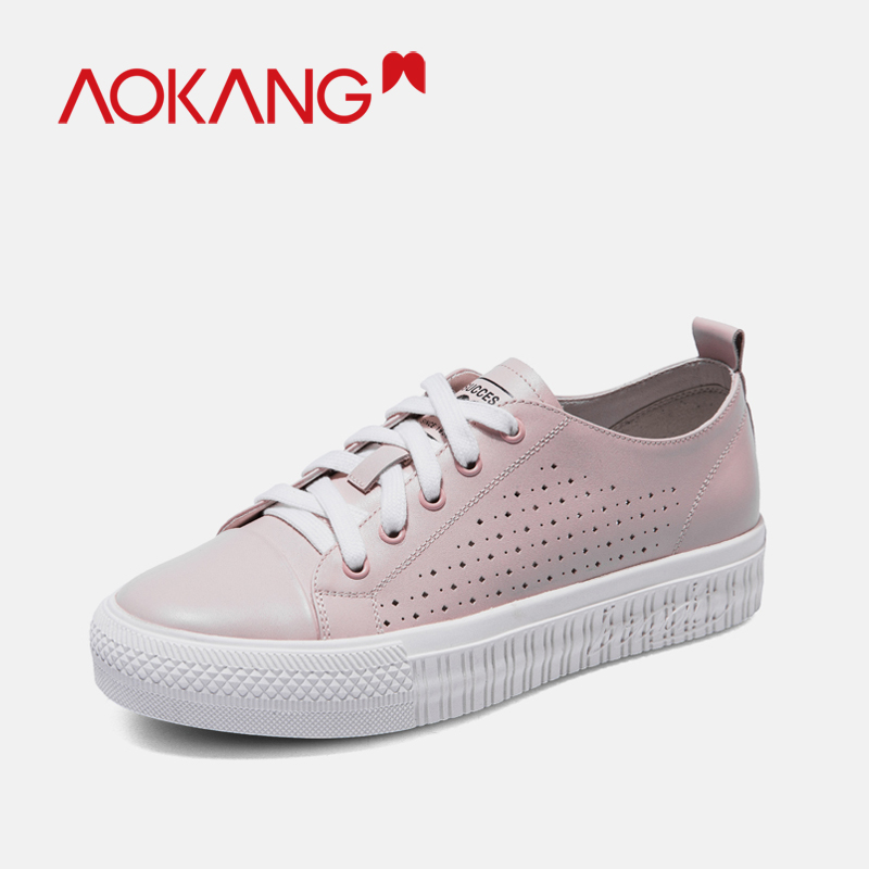 AOKANG Good Antiskid Shoes Woman Platform Sneakers Women Lace-Up Breathable Tenis Feminino Casual Sneakers Hollow Out Shoes